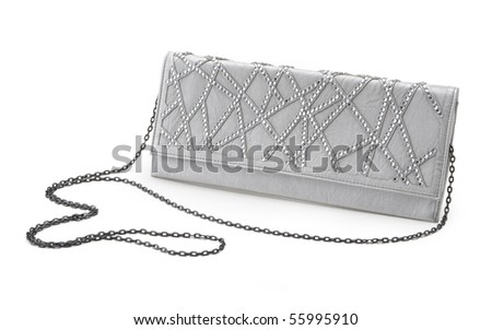 beautiful white leather women's handbag with silver chain