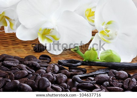 Beautiful white orchid blossoms with whole vanilla pods and rich roasted coffee beans on a bamboo mat. - stock photo