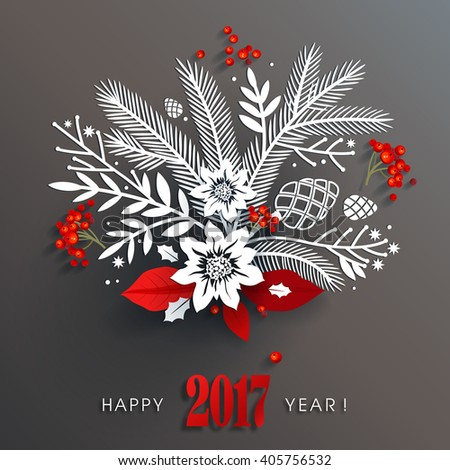 Beautiful white paper floral holiday arrangement and red berries and leaves with long shadows on dark gray background create three-dimensional elegant design for 2017 new year.