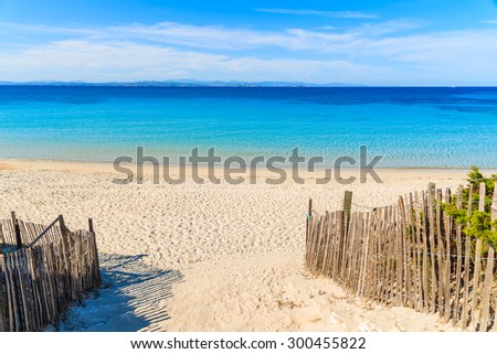 Beautiful white sand beach Grande Sperone with azure sea water, Corsica island, France - stock photo