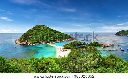 Beautiful white sand beach of Koh Tao, Thailand - stock photo