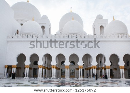 Beautiful white Sheikh Zayed mosque at Abu-Dhabi, UAE