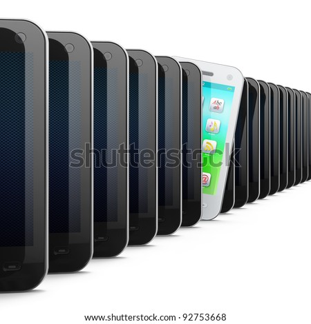 Beautiful white smartphone in row of black phones, 3d render. Smart phone isolated on white - stock photo