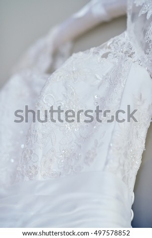 Beautiful White Wedding Dress Bride Indoors Stock Photo 497578852 ...