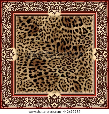 Beautiful wild leo pattern square illustration of frame with leopard skin. Leopard background. Panther fashion shawl. Animal pattern with decorative elements - stock photo