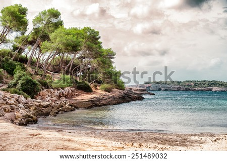 Beautiful wild tropical beach. Mediterranean sea landscape.