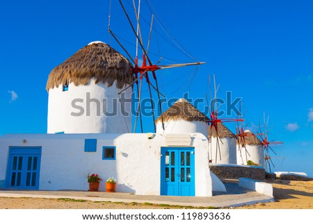 Beautiful windmills with base closeup in Mykonos island cyclades Greece - stock photo