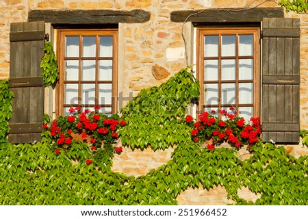 Beautiful window with shutters in Provence, France . - stock photo