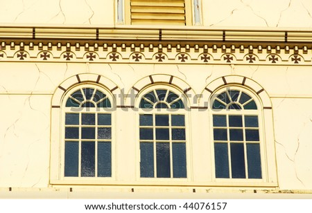 beautiful windows in an ukrainian catholic cathedral in downtown Edmonton, Alberta, Canada - stock photo