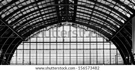 Beautiful windows of Antwerp central station in belgium - stock photo