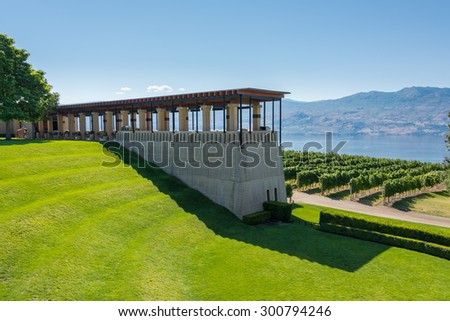Beautiful winery inspired by old Tuscany style architecture located in Kelowna, British Columbia, Canada - stock photo
