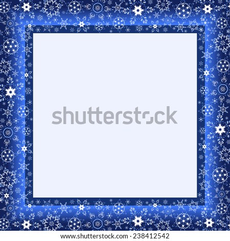 Beautiful winter blue frame with white stylized snowflakes. Christmas and New Year celebratory card with place for text. Stylish festive background. Raster illustration - stock photo