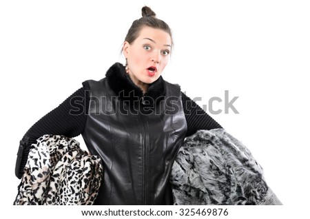 Beautiful winter girl in fur. Isolated photo.  Soft focus. - stock photo