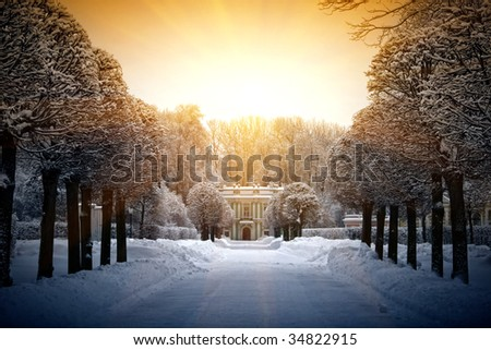 Beautiful winter in Estate Kuskovo, Moscow, Russian Federation. Pavilion Italiah House.