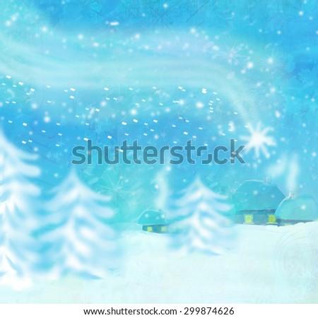 Beautiful winter landscape, falling star - stock photo