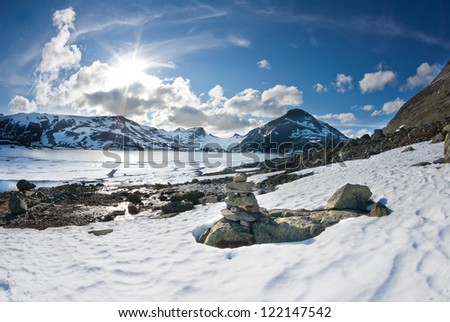 beautiful winter landscape in Jotunheimen in Norway - stock photo
