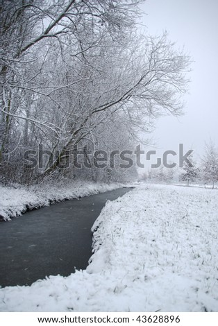Beautiful winter landscape with fresh snow.