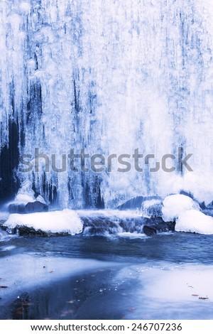 Beautiful winter landscape with frozen waterfall.Closeup - stock photo