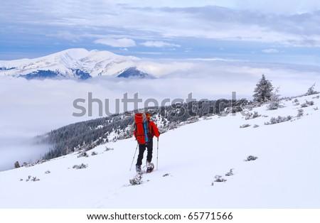 Beautiful winter landscape with man - stock photo