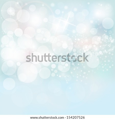 Beautiful Winter Lights, Snow & Stars On A Blue Holiday Abstract Background  - stock photo