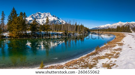 Beautiful winter mountain views from Banff National Park Alberta Canada - stock photo
