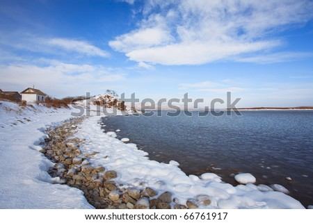 beautiful winter nature of the Primorsky Territory, Vladivostok, Russia - stock photo