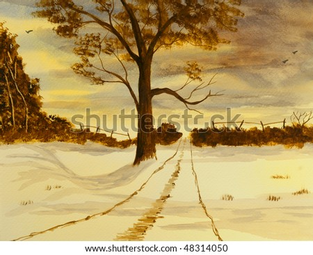 Beautiful Winter scene Painting done In Watercolor - stock photo