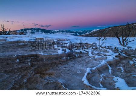 Beautiful Winter Sunset in Yellowstone - stock photo