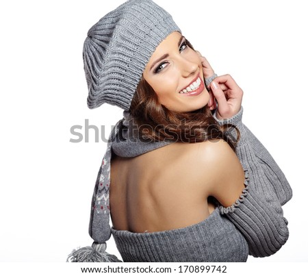 Beautiful winter woman in warm clothing  - stock photo