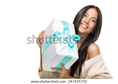 beautiful woman a gift box Happy smiling - stock photo