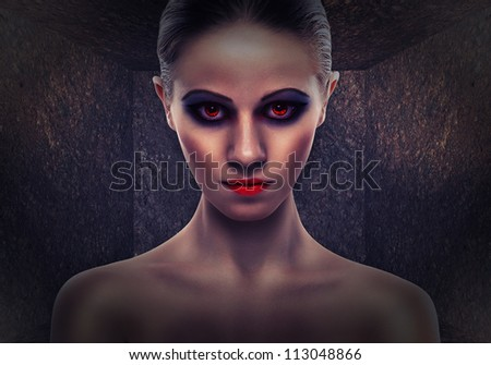 beautiful woman a witch, evil. Halloween - stock photo