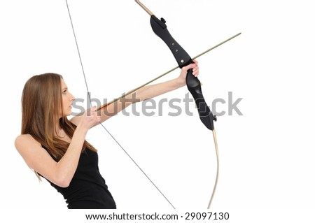 Beautiful woman aiming with bow and arrow