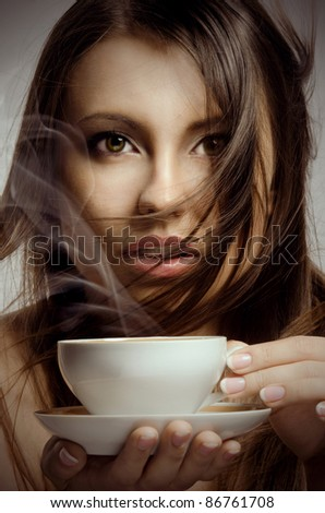 Beautiful Woman  and Cup - stock photo