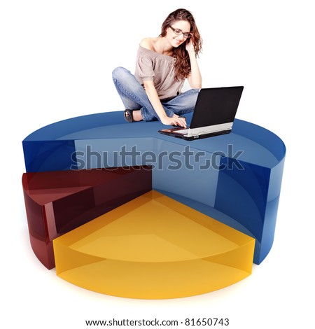 beautiful woman and laptop sitting on top of a 3d business graph - stock photo