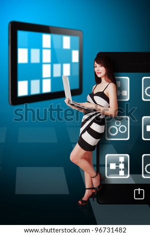Beautiful Woman and mobile device