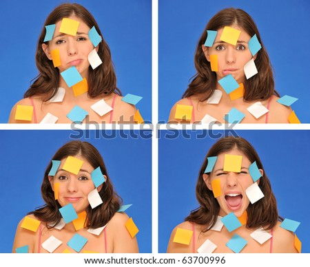 beautiful woman ans sticky notes isolated over blue - stock photo