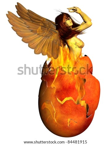Beautiful woman as the Phoenix reborn from a fiery egg, 3d digitally rendered illustration - stock photo