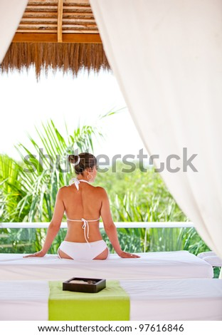 Beautiful woman at the spa getting a beauty treatment - stock photo