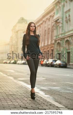 beautiful woman at the street morning