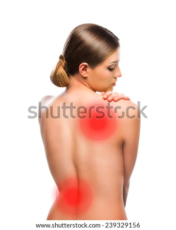 Beautiful woman back, with red dots as indicators - stock photo