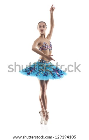 beautiful woman ballet dancer isolated on white background