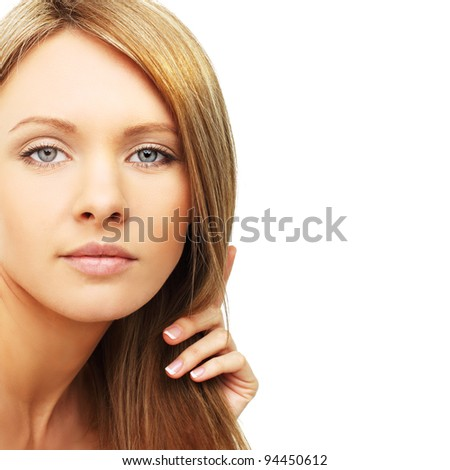 Beautiful woman, blond hair isolated - beauty background - stock photo