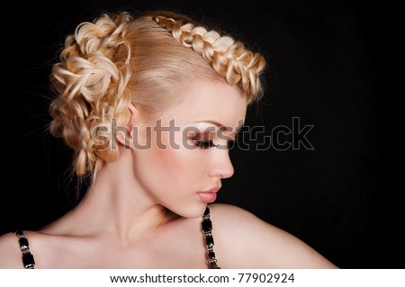 beautiful woman blond with the netting on the hair - stock photo