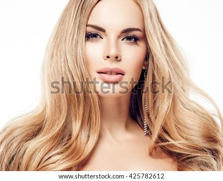 Beautiful woman blonde hair face close up portrait studio on white - stock photo
