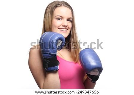 Beautiful woman boxing - stock photo