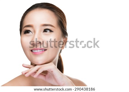 Beautiful woman cares for the skin face - posing at studio isolated on white with clipping path,asian Beauty. - stock photo