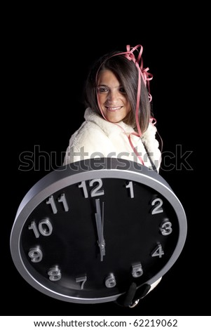 beautiful woman celebrating the new year eve  (isolated on black) - stock photo