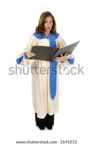 Beautiful woman church choir member in choir robe holding a music folder and singing.  Isolated on white. - stock photo