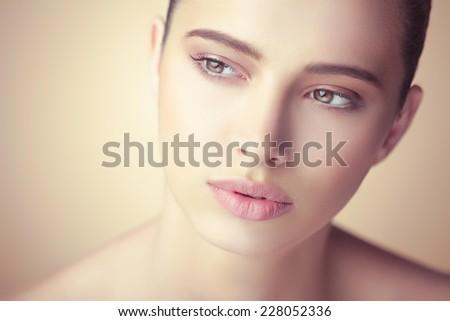 Beautiful woman. Close up. - stock photo