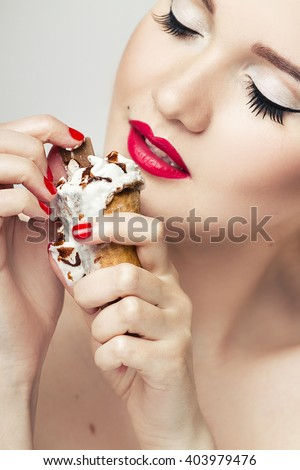 Beautiful woman closeup. Perfect makeup and nails. - stock photo